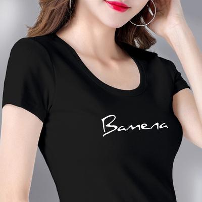 纯棉白色t恤女短袖字母图案印花2019新款夏修身上衣百搭半袖体恤