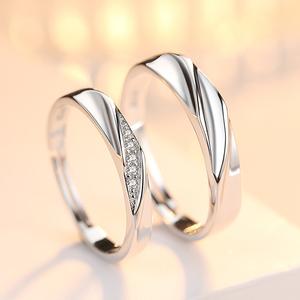 唐奢S925纯银镀白金开口情侣小众设计仿真钻石一对戒指男女士网红