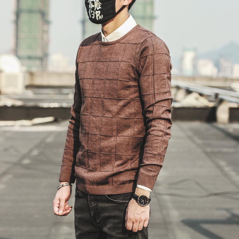 Mùa thu và mùa đông nam cổ tròn jacquard là áo len mỏng áo thun Hàn Quốc Slim fit thanh niên cơ sở áo len hoang dã thủy triều - Hàng dệt kim