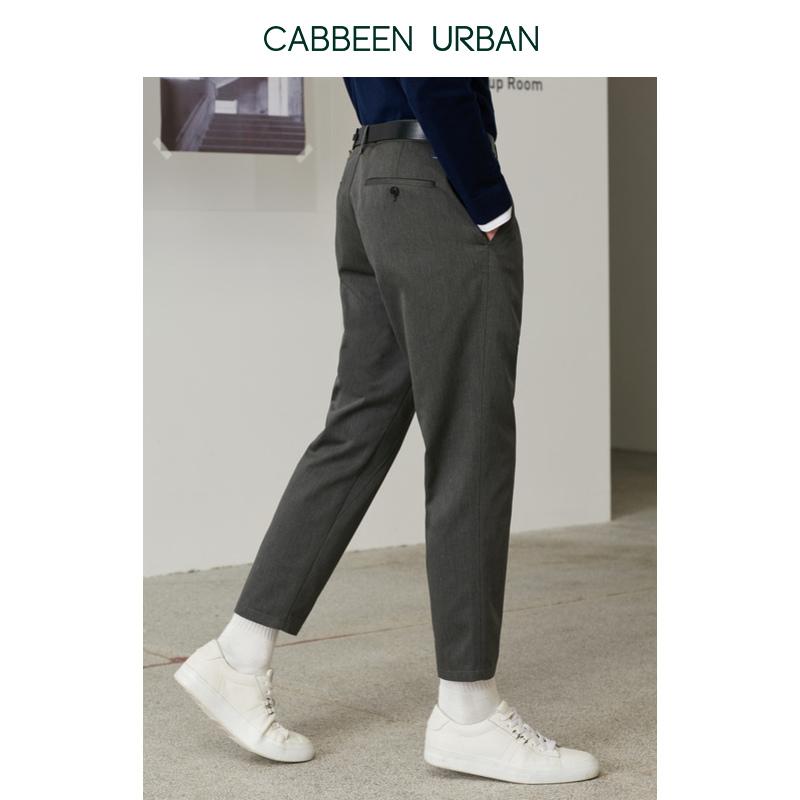 [Giống như trung tâm mua sắm] Carbin đô thị nam mùa xuân quần mới màu xám quần âu kiểu Hồng Kông quần chín điểm quần - Quần