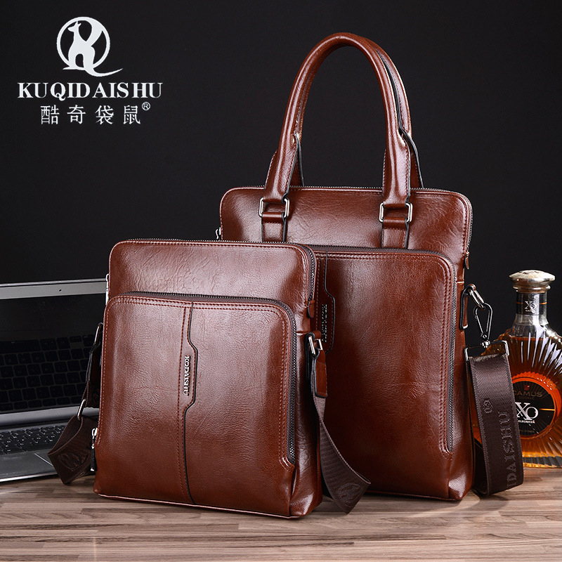 121278b531 Kangaroo men s bag shoulder bag messenger bag casual business bag vertical  genuine leather bag casual handbag small bag