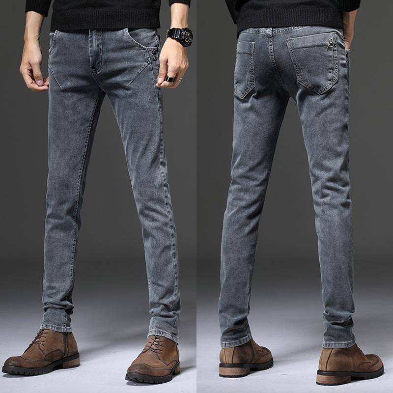 男士弹力烟灰色牛仔裤韩版修身小脚裤斜口袋潮牌复古高端长裤子潮