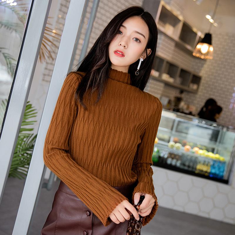 秋冬新款半高领修身显瘦韩版时尚纯色长袖网红毛衣女针织打底衫