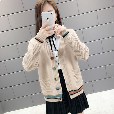 2021 new ladies sweater cardigan sweater short loose wild external clothing women's spring autumn clothes outside