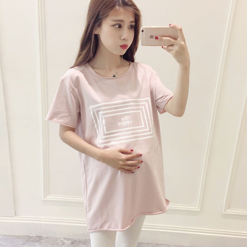 b532d0907a5 Maternity dress summer 2019 Korean version of cotton pregnant women shirt  loose long section round neck fashion short-sleeved pregnant women T-shirt