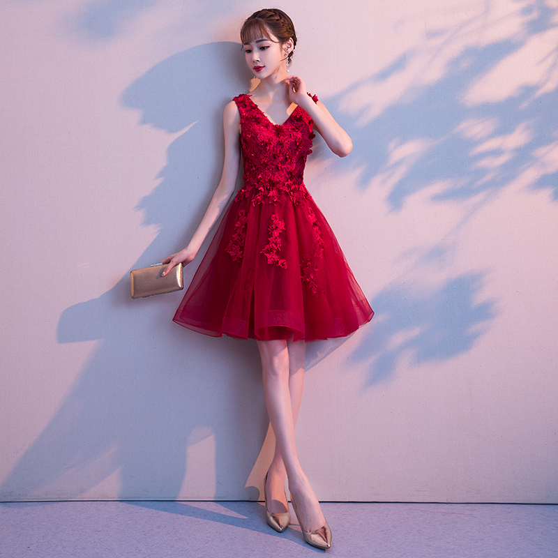 572d2f20d883 Toast clothing bride summer 2019 wedding new red engagement small dress  female pregnant women was thin ...