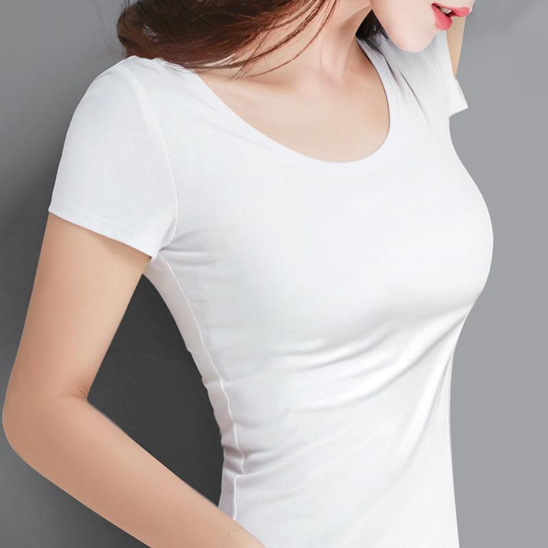 纯白色t恤女短袖纯棉修身2019新款潮百搭紧身黑色打底衫上衣女丅