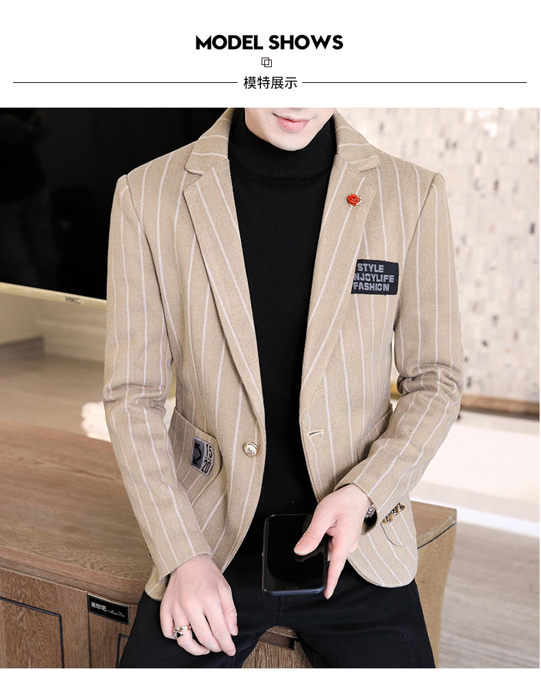 Trendy suit men's plush jacket Korean version handsome autumn and winter hair and striped small suit thickened top 50 Online shopping Bangladesh