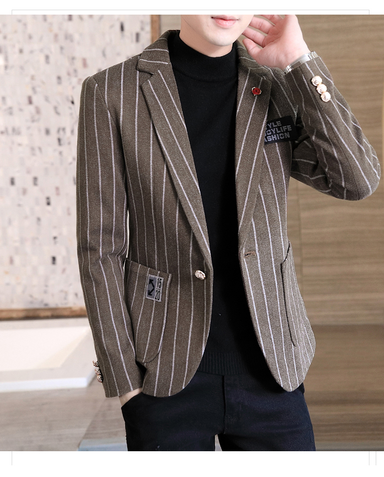 Trendy suit men's plush jacket Korean version handsome autumn and winter hair and striped small suit thickened top 55 Online shopping Bangladesh
