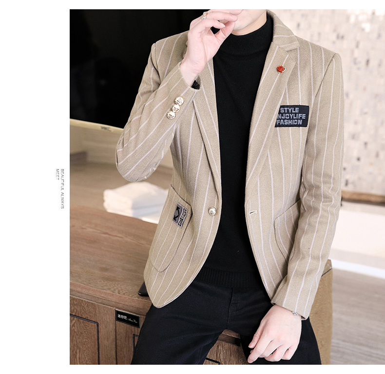 Trendy suit men's plush jacket Korean version handsome autumn and winter hair and striped small suit thickened top 51 Online shopping Bangladesh