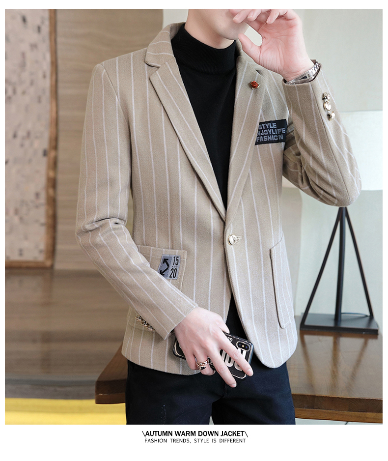 Trendy suit men's plush jacket Korean version handsome autumn and winter hair and striped small suit thickened top 53 Online shopping Bangladesh