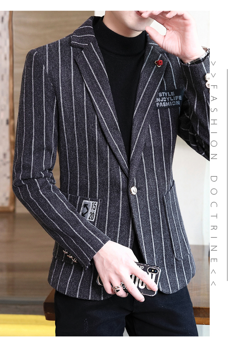 Trendy suit men's plush jacket Korean version handsome autumn and winter hair and striped small suit thickened top 60 Online shopping Bangladesh