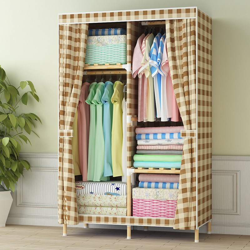 Simple cloth cabinet Solid wood reinforced wooden assembly hanger fabric cabinet Oxford cloth combination wooden rack storage wardrobe