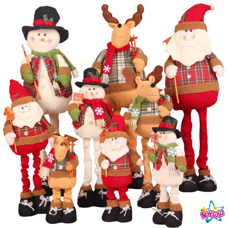 圣诞节老人装饰品伸缩梅花鹿摆件雪人公仔娃娃圣诞树装饰儿童玩偶