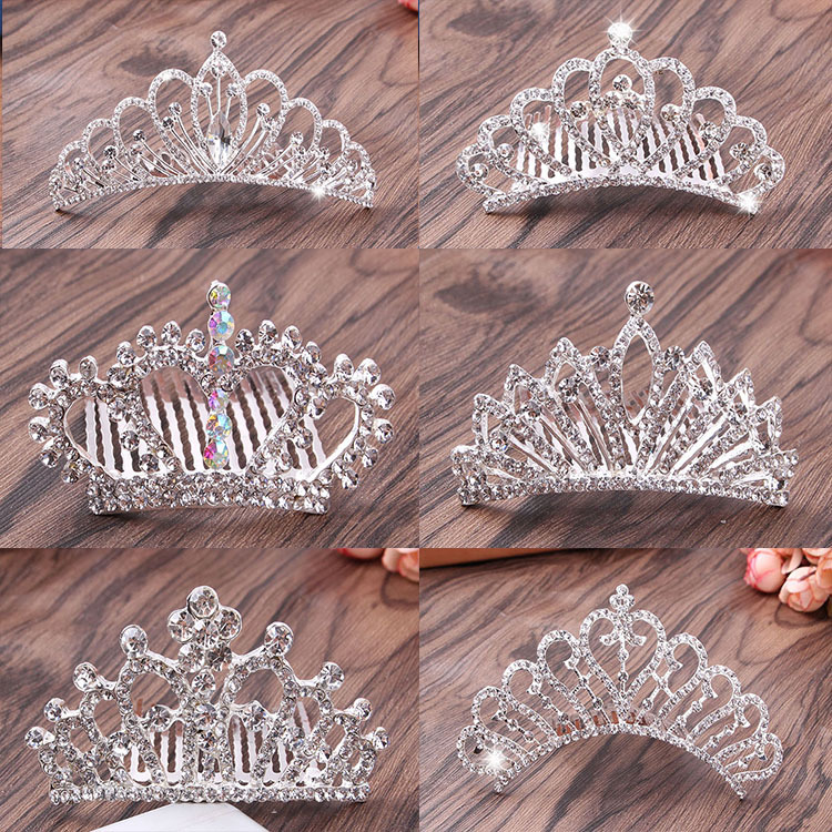 Korean children's hair accessories Crown Princess headdress hair comb hoop bridal crown Accessories Baby birthday gift Crown