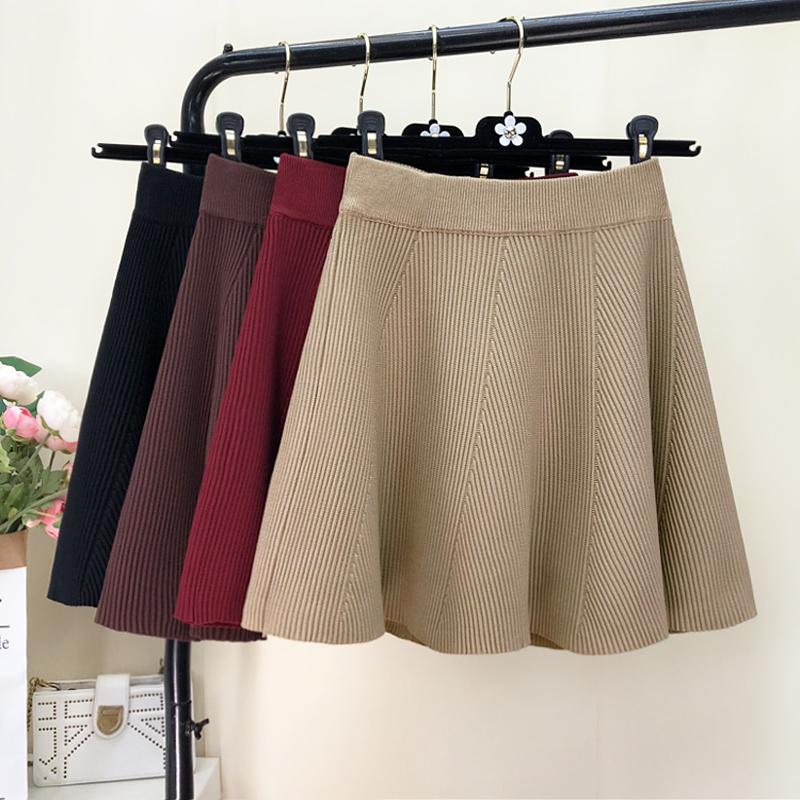 Вязание юбка женщина 2019 новый корейский талия студент осень и зима поддержка юбка сын дикий плиссированный юбки 600594128735