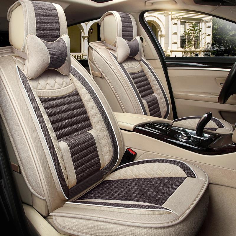 汽车坐垫夏季冰丝全包围编织透气车垫6D座椅套四季通用亚麻布座套