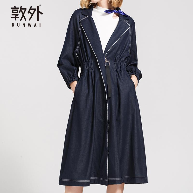 2019春秋季长袖牛仔风衣女中长款修身显瘦外套过膝英伦收腰大摆薄