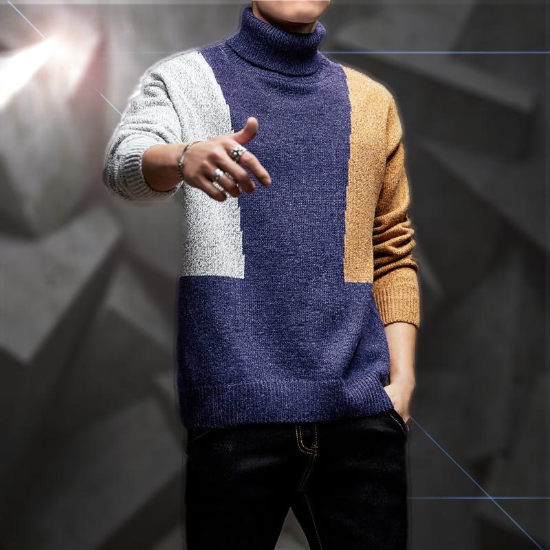 Áo len cao cổ nam mùa đông mới của giới trẻ Hàn Quốc áo thun nam dài tay áo len thương hiệu áo len nam - Áo len
