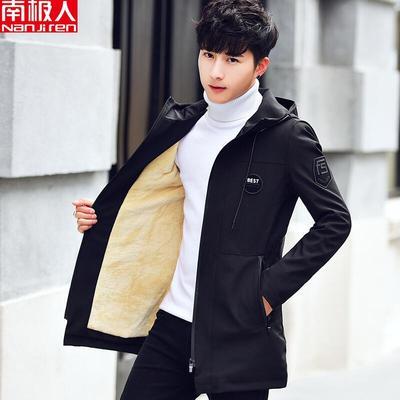 南极人秋冬季加绒加厚连帽外套男士潮流中长款风衣男修身保暖夹克