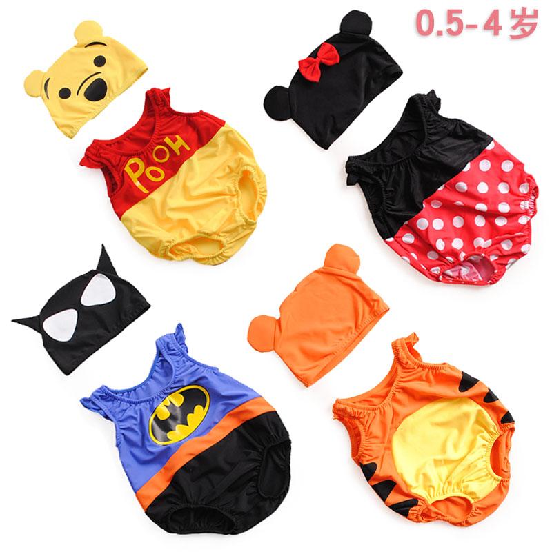 儿童泳衣男童0-3岁婴幼儿小童1-2岁可爱连体温泉游泳馆卡通蝙蝠侠
