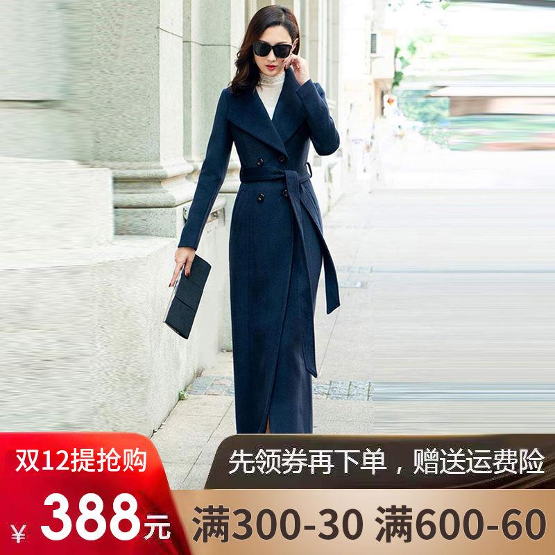 2018新款秋冬羊毛韩版呢子大衣女长款毛呢外套超长款过膝修身加厚