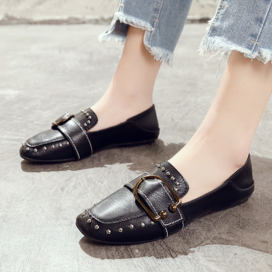 2019 spring new wild small shoes two wear Lok Fu shoes flat shoes British wind peas shoes women's social shoes