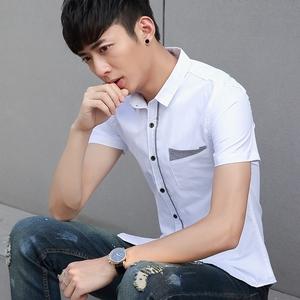 夏季男士短袖衬衫韩版修身 青少年衬衣男薄款白色休闲纯色寸衫0...