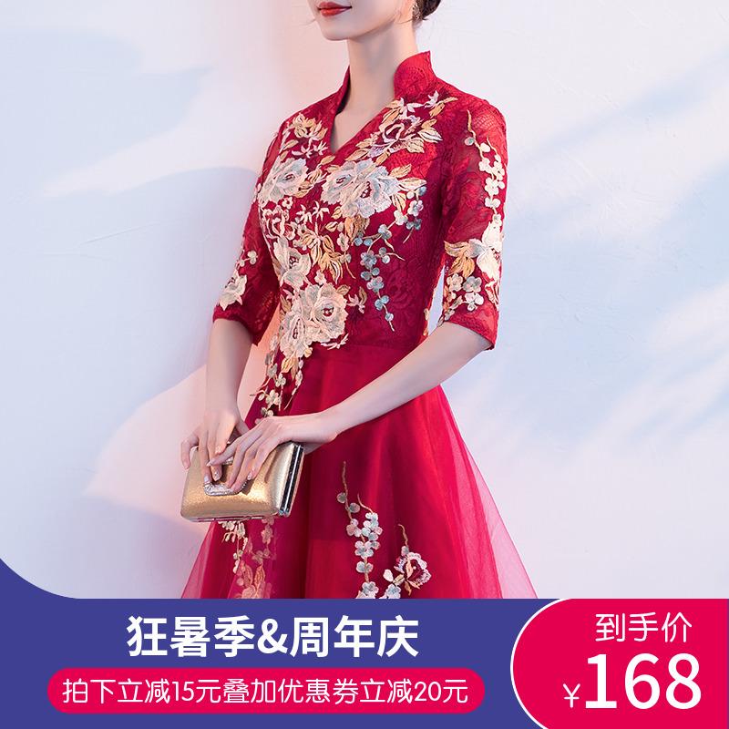 敬酒服短款夏款2019v短款旗袍中式新娘小个子公主女出阁晚礼服红色