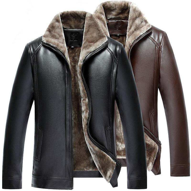 海宁秋冬季加绒加厚皮衣男外套皮夹克男士中老年男装冬装衣服