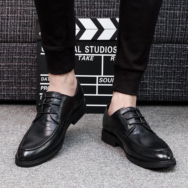 休闲男韩版秋季系带黑色尖头皮鞋