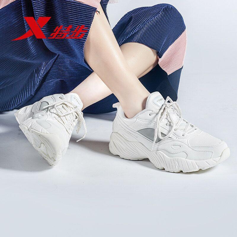 特步女鞋老爹鞋女小白鞋2020春季网面透气运动鞋男跑步鞋女休闲鞋