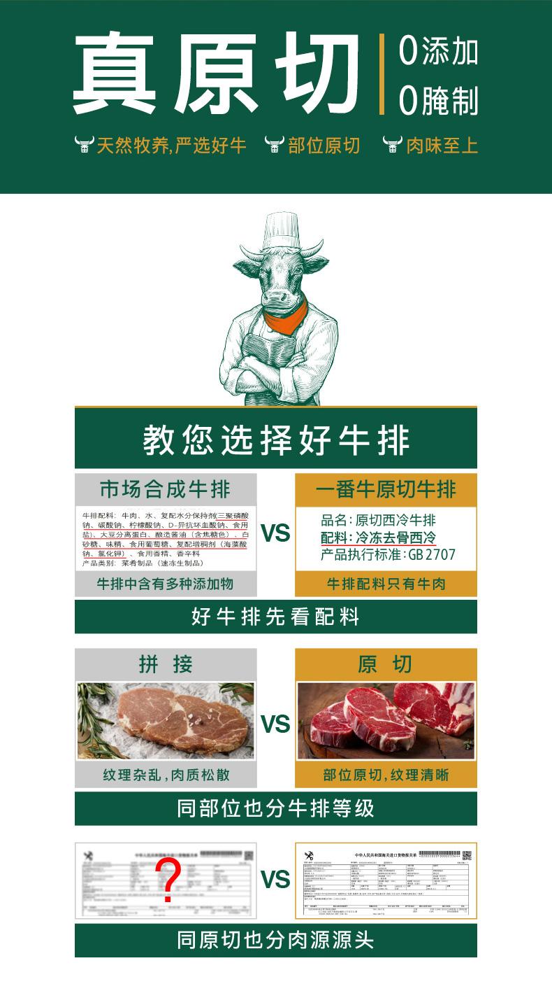 凤祥食品 一番牛 原切西冷牛排1.2kg 图3