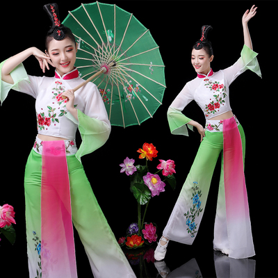 Chinese folk dance costumes for women Classical costume fan dance Yangko folk costume umbrella dancer group dance brocade performance Costume