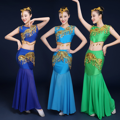 Chinese folk dance costumes for women Dai Dance Costume female Yunnan minority style Peacock Dance slim fishtail skirt performance dress for adults