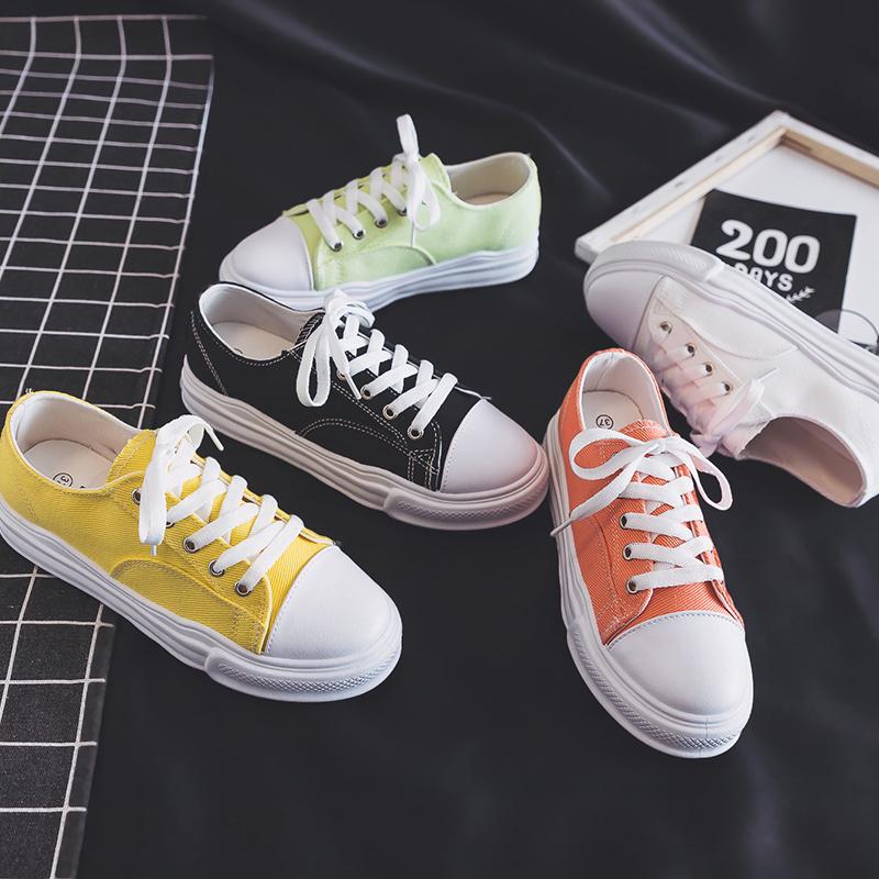 帆布鞋女2020爆款板鞋2019春季新款学生百搭韩版ins潮基础小白鞋