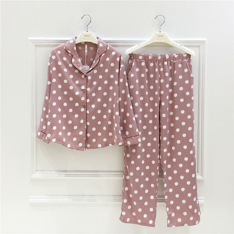 Ann's pajamas women's 2019 autumn new fashion polka dot Korean woven cotton long-sleeved home clothes women suit