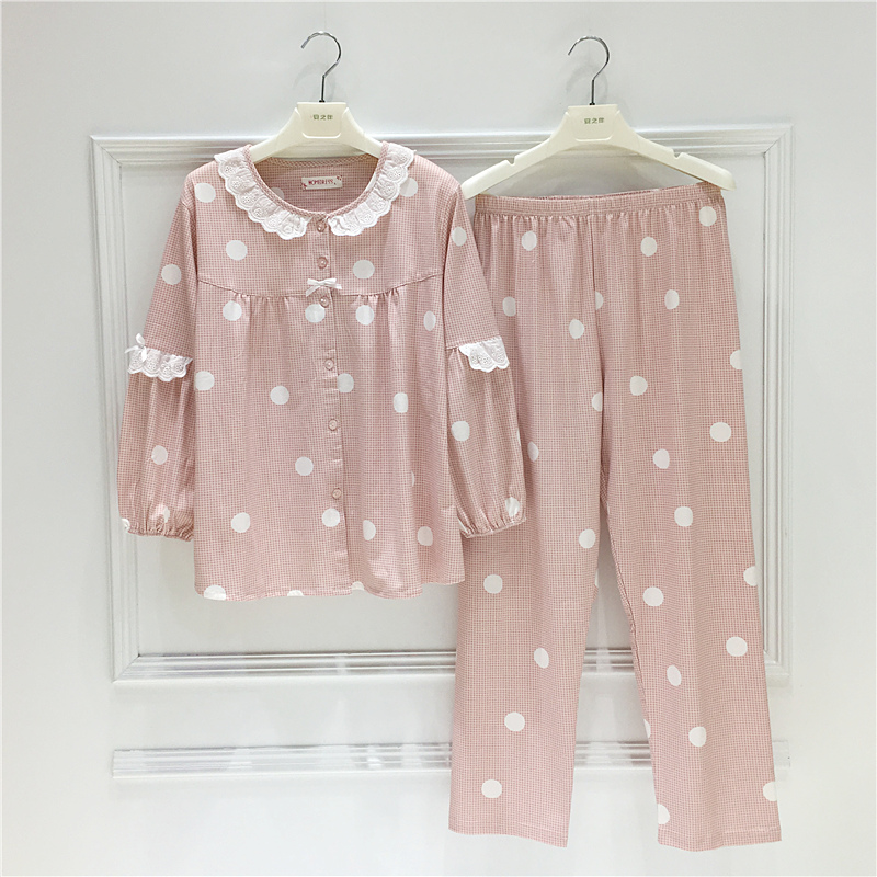 Long-sleeved pajamas autumn cotton cartoon dot cardigan Korean sweet girl long-sleeved pajamas round neck home service