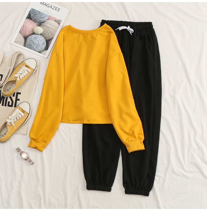 Net-a-Go sports suit women's autumn 2020 new Korean version of loose fashion style air-reducing thin casual two-piece set 41 Online shopping Bangladesh