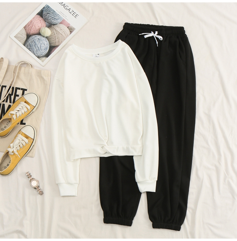 Net-a-Go sports suit women's autumn 2020 new Korean version of loose fashion style air-reducing thin casual two-piece set 43 Online shopping Bangladesh