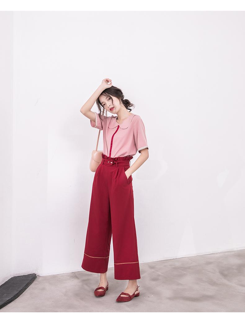 娃娃领短袖女2020新款秋装休闲复古上衣气质修身半袖超仙t恤女商品详情图