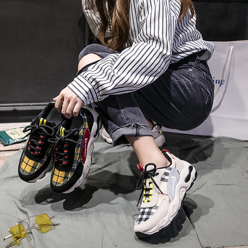 2018秋款欧洲站女鞋新款韩版皮布格子系带拼色潮鞋显脚高休闲女鞋