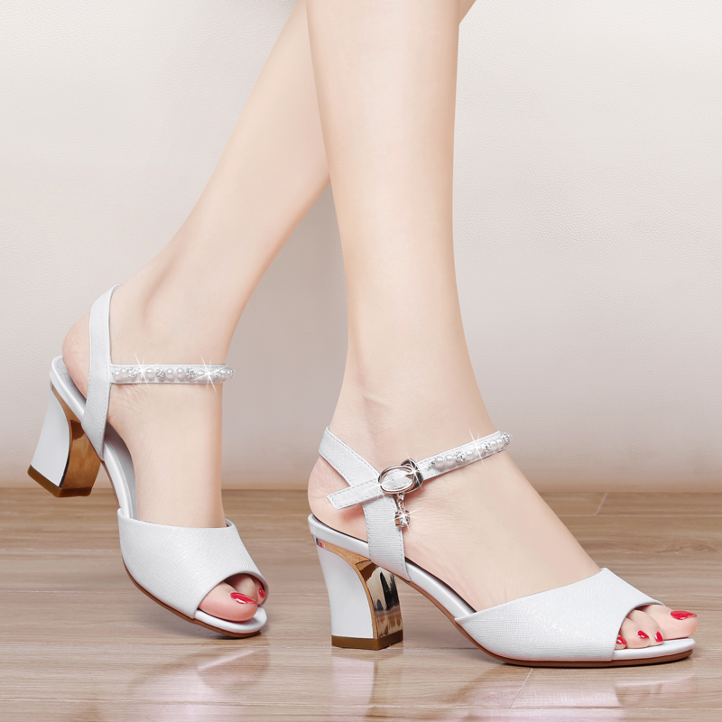 5848851502e Sandals female 2018 spring and summer new word buckle fish mouth shoes  trendy wild sexy high heels student shoes