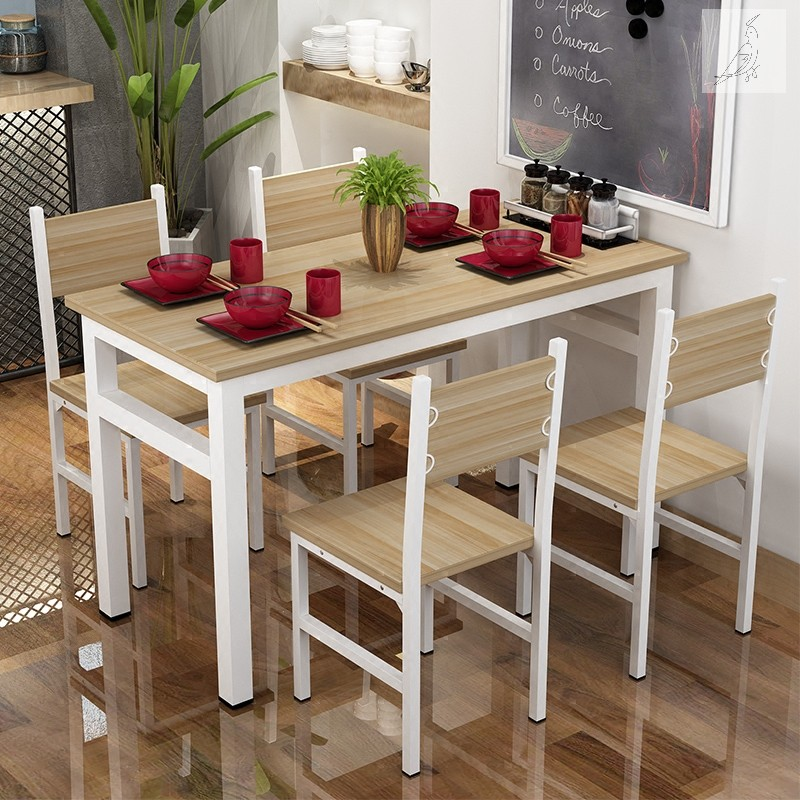 Simple table and chair combination small household modern rectangular fast food restaurant home dining table simple 4 people 6 tables and chairs