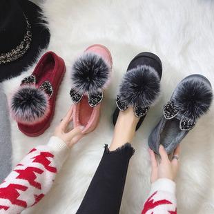 Мокасины женский конец 2018 осенью и зимой корейский кролик уши горный хрусталь hairball модный, подходит ко всему скольжение горох теплую обувь