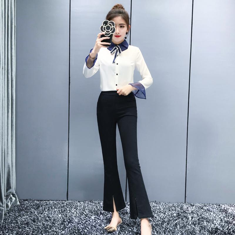 小清新套装女夏2018新款韩版气质显瘦甜美雪纺喇叭裤两件套时尚潮_用心购