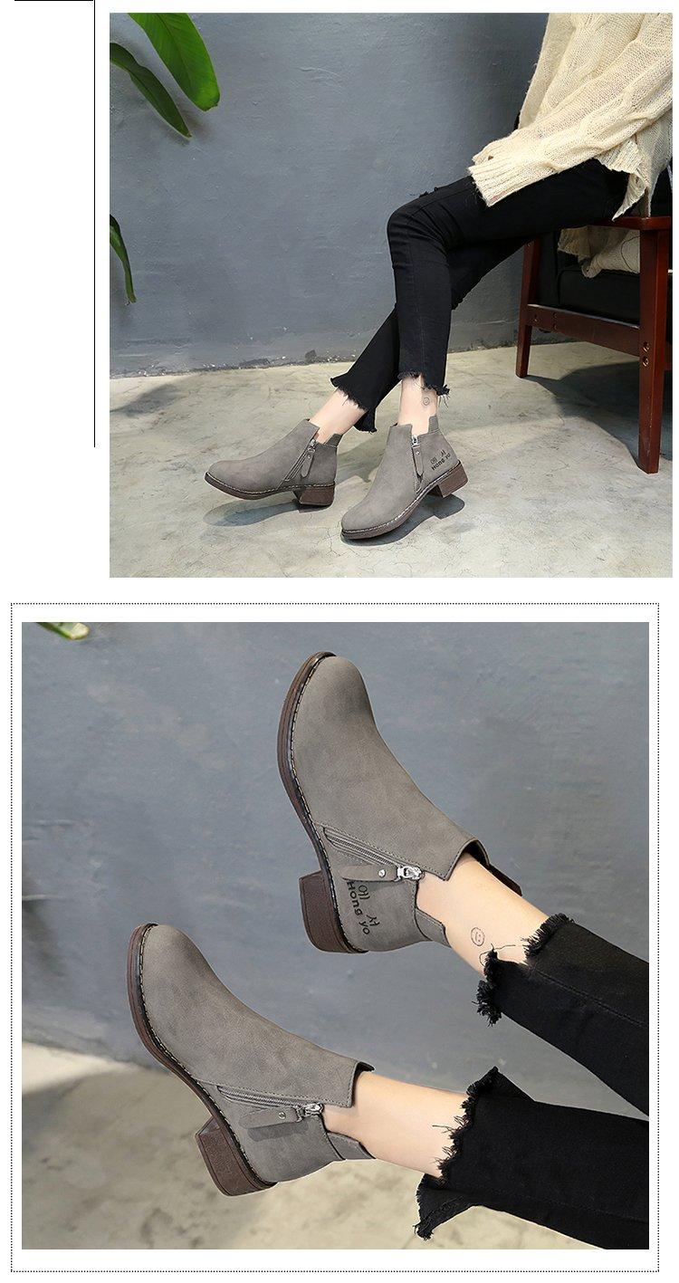 2018秋冬新款马丁靴女靴韩版学生中跟短靴加绒棉靴粗跟磨砂单靴子