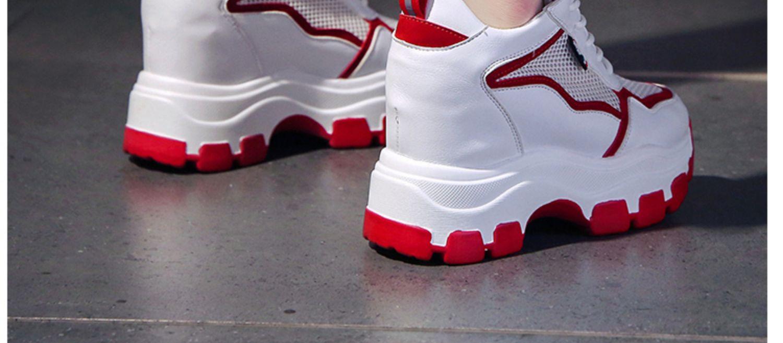 2020夏季新款10cm内增高透气小白鞋女网面厚底老爹鞋女休闲运动鞋商品详情图
