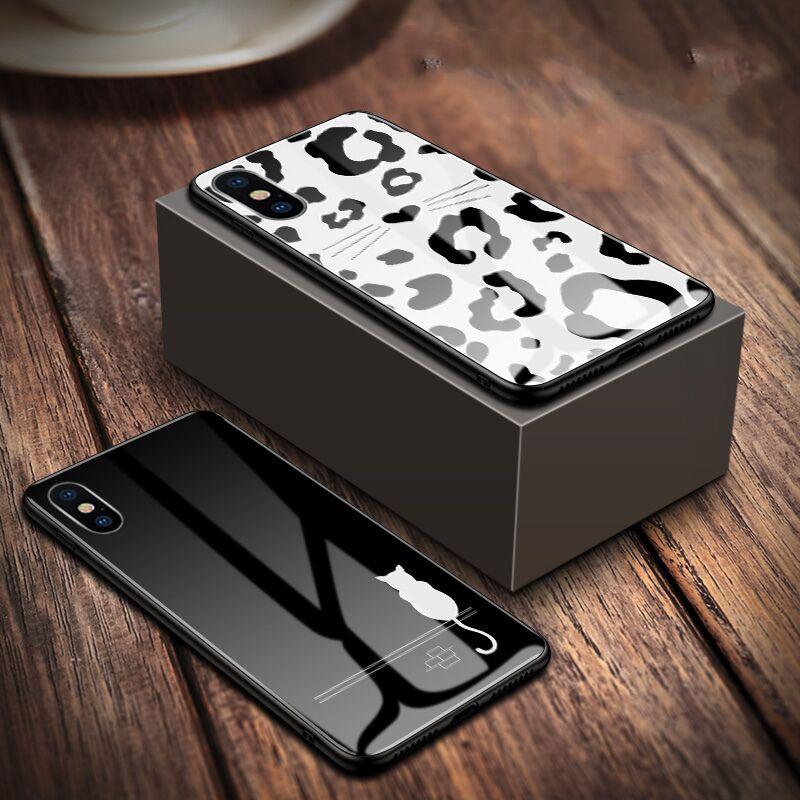 经典奢华猫咪 苹果X手机壳iphone6splus手机壳XS Max钢化玻璃壳iPhone8女款全包7plus玻璃套XR软套5s网红情侣_领取5元天猫超市优惠券