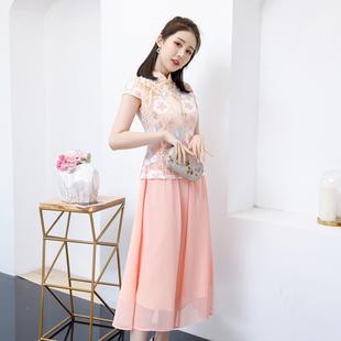 女装韩版显瘦旗袍刺绣网纱裙两件套